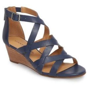 New in box Lucky Brand leather wedge sandals